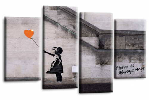 Banksy Art Balloon Girl Canvas Wall Picture Print Orange Grey
